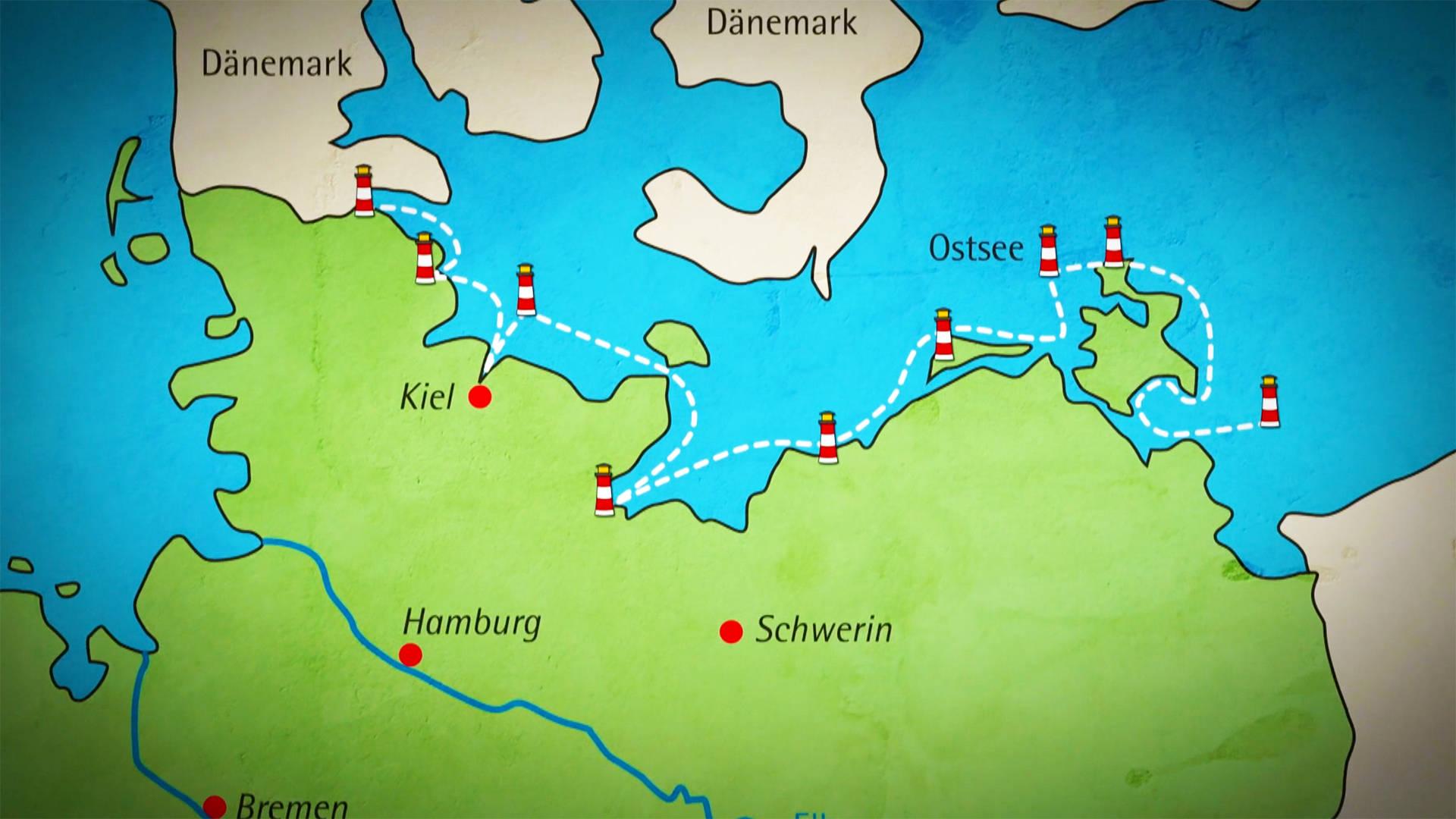 Reise an der Ostseeküste - wdrmaus.de - Karte Deutschland Ostsee
